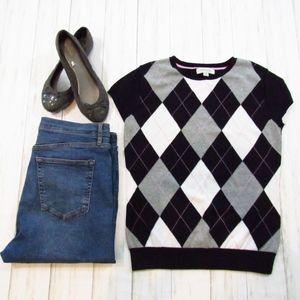 Merona Short Sleeve Argyle Sweater M